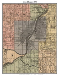 Saginaw City, Michigan 1890 Old Town Map Custom Print - Saginaw Co.