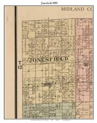 Jonesfield, Michigan 1890 Old Town Map Custom Print - Saginaw Co.