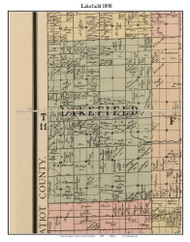 Lakefield, Michigan 1890 Old Town Map Custom Print - Saginaw Co.