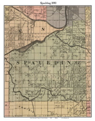 Spaulding, Michigan 1890 Old Town Map Custom Print - Saginaw Co.