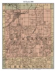 St Charles, Michigan 1890 Old Town Map Custom Print - Saginaw Co.