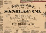 Map Cartouche, Sanilac County Michigan 1876 Old Town Map Custom Print -