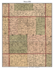 Moore, Michigan 1876 Old Town Map Custom Print - Sanilac Co.