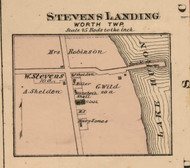 Stevens Landing Village, Worth, Michigan 1876 Old Town Map Custom Print - Sanilac Co.