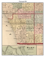 Claybanks, Michigan 1876 Old Town Map Custom Print - Oceana Co.