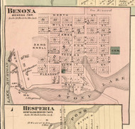 Benona Village, Benona, Michigan 1876 Old Town Map Custom Print - Oceana Co.