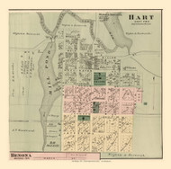 Hart Village, Hart, Michigan 1876 Old Town Map Custom Print - Oceana Co.