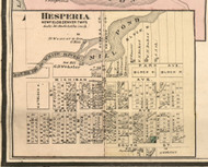 Hesperia Village, Newfield, Michigan 1876 Old Town Map Custom Print - Oceana Co.