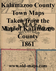 Map Cartouche, Kalamazoo Co. Michigan 1861 Old Town Map Custom Print - Kalamazoo Co.