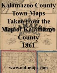 Map Cartouche, Kalamazoo Co. Michigan 1861 Old Town Map Custom Print - Kalamazoo Co.