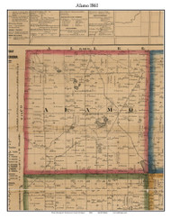 Alamo, Michigan 1861 Old Town Map Custom Print - Kalamazoo Co.