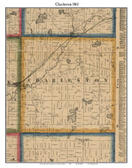 Charleston, Michigan 1861 Old Town Map Custom Print - Kalamazoo Co.
