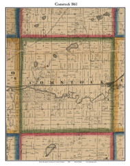 Comstock, Michigan 1861 Old Town Map Custom Print - Kalamazoo Co.