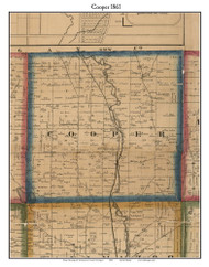 Cooper, Michigan 1861 Old Town Map Custom Print - Kalamazoo Co.