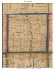 Cooper, Michigan 1861 Old Town Map Custom Print - Kalamazoo Co.