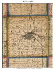 Kalamazoo, Michigan 1861 Old Town Map Custom Print - Kalamazoo Co.