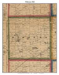 Oshtemo, Michigan 1861 Old Town Map Custom Print - Kalamazoo Co.
