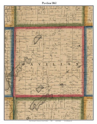 Pavilion, Michigan 1861 Old Town Map Custom Print - Kalamazoo Co.