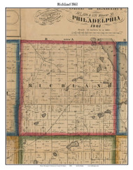 Richland, Michigan 1861 Old Town Map Custom Print - Kalamazoo Co.