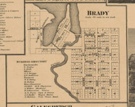 Brady Village, Michigan 1861 Old Town Map Custom Print - Kalamazoo Co.
