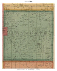 Ellsworth, Michigan 1900 Old Town Map Custom Print - Lake Co.