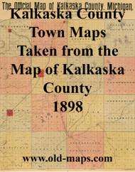Map Cartouche, Kalkaska Co. Michigan 1898 Old Town Map Custom Print - Kalkaska Co.