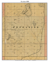 Excelsior, Michigan 1898 Old Town Map Custom Print - Kalkaska Co.
