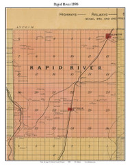Rapid River, Michigan 1898 Old Town Map Custom Print - Kalkaska Co.