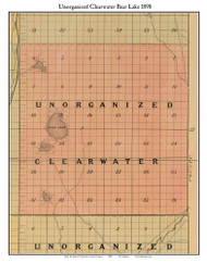 Unorganized Clearwater Bear Lake, Michigan 1898 Old Town Map Custom Print - Kalkaska Co.