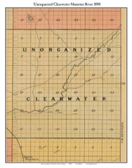 Unorganized Clearwater Manistee River, Michigan 1898 Old Town Map Custom Print - Kalkaska Co.