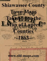 Map Cartouche, Lapeer Co. Michigan 1863 Old Town Map Custom Print - Lapeer Co.