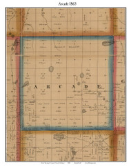 Arcade, Michigan 1863 Old Town Map Custom Print - Lapeer Co.
