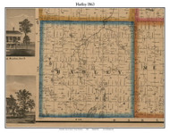 Hadley, Michigan 1863 Old Town Map Custom Print - Lapeer Co.