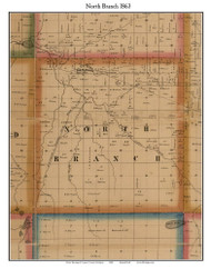 North Branch, Michigan 1863 Old Town Map Custom Print - Lapeer Co.