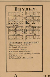 Dryden Village, Michigan 1863 Old Town Map Custom Print - Lapeer Co.