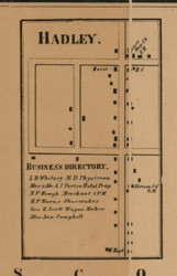 Hadley Village, Michigan 1863 Old Town Map Custom Print - Lapeer Co.