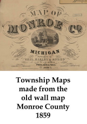 Map Cartouche, Monroe County Michigan 1859 Old Town Map Custom Print -