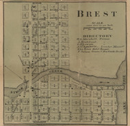 Brest Village, Frenchtown, Michigan 1859 Old Town Map Custom Print - Monroe Co.
