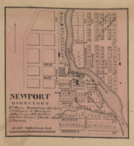Newport Village, Ash, Michigan 1859 Old Town Map Custom Print - Monroe Co.
