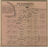 Petersburg Village, Summerfield, Michigan 1859 Old Town Map Custom Print - Monroe Co.