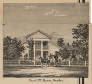 Mason Residence, Dundee, Michigan 1859 Old Town Map Custom Print - Monroe Co.
