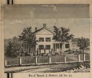 Potter Residence, Ash, Michigan 1859 Old Town Map Custom Print - Monroe Co.