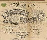 Map Cartouche, Lenawee Co. Michigan 1857 Old Town Map Custom Print