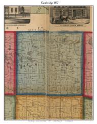 Cambridge, Michigan 1857 Old Town Map Custom Print - Lenawee Co.