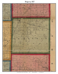 Ridgeway, Michigan 1857 Old Town Map Custom Print - Lenawee Co.