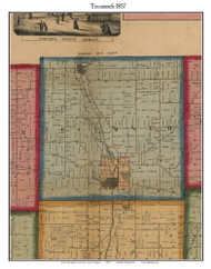 Tecumseh, Michigan 1857 Old Town Map Custom Print - Lenawee Co.