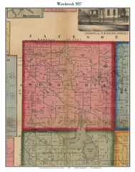Woodstock, Michigan 1857 Old Town Map Custom Print - Lenawee Co.
