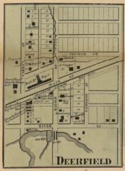Deerfield Village, Blissfield, Michigan 1857 Old Town Map Custom Print - Lenawee Co.