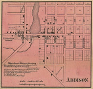 Addison Village, Woodstock & Rollin, Michigan 1857 Old Town Map Custom Print - Lenawee Co.
