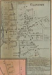 Clinton Village, Tecumseh, Michigan 1857 Old Town Map Custom Print - Lenawee Co.